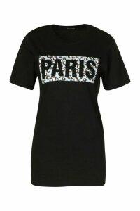 Womens Paris Animal Box Print Tee - Black - M, Black