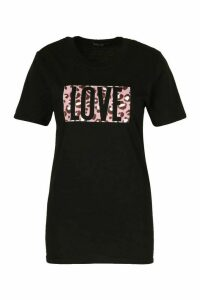 Womens Love Animal Box Print Tee - Black - M, Black