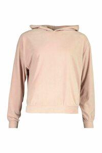 Womens Oversized Premium Velour Hoody - Pink - 6, Pink