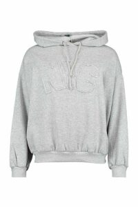 Womens Nyc Embroidered Oversized Hoody - Grey - 16, Grey