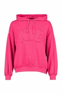 Womens Nyc Embroidered Oversized Hoody - Pink - 8, Pink