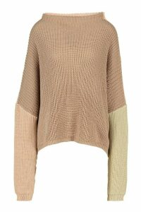 Womens Colourblock Wide Sleeve Jumper - beige - M, Beige