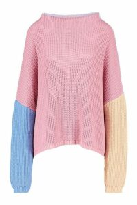 Womens Colourblock Wide Sleeve Jumper - blue - M, Blue