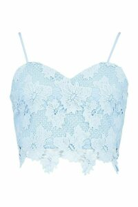 Womens Crochet Lace Top - blue - 14, Blue