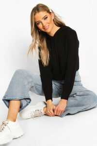 Womens Knitted Hooded Cropped Jumper - black - M, Black