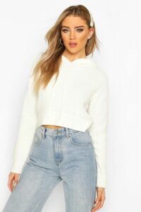 Womens Knitted Hooded Cropped Jumper - white - M, White