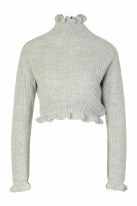 Womens Ruffle Cropped Knitted Jumper - grey - M/L, Grey
