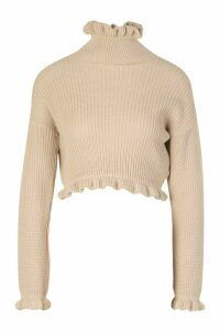 Womens Ruffle Cropped Knitted Jumper - beige - M/L, Beige