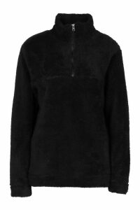Womens Borg Zip Funnel Oversized Sweat Top - Black - M, Black