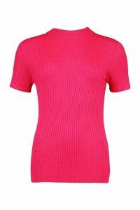 Womens Tall Rib Knit Top - Pink - M, Pink