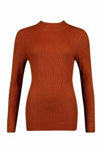 Womens Tall High Neck Rib Jumper - orange - M, Orange