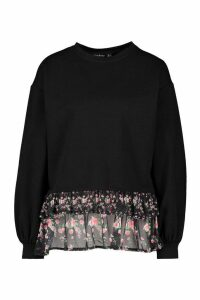 Womens Printed Frill jumper - black - 16, Black