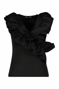 Womens Ruffle Front Feature Top - black - 14, Black