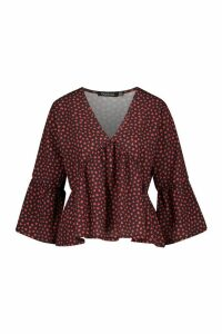 Womens Heart Print Flute Sleeve Blouse - Black - 14, Black
