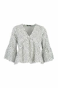 Womens Heart Print Flute Sleeve Blouse - White - 12, White