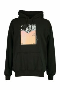 Womens Mountain Photo Print Hoody - black - XL, Black