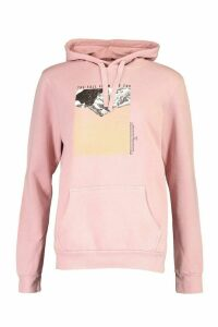 Womens Mountain Photo Print Hoody - Pink - XL, Pink