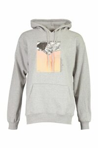 Womens Mountain Photo Print Hoody - Grey - Xl, Grey