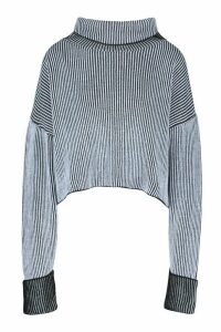 Womens 2 Tone Rib Crop Roll Neck Jumper - blue - M, Blue