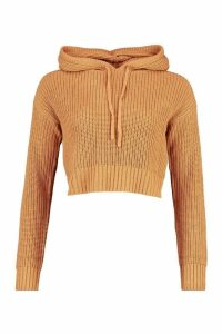 Womens Knitted Hooded Cropped Jumper - Beige - M, Beige