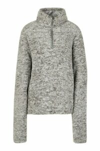 Womens Borg Zip Funnel Oversized Sweat Top - grey - L, Grey