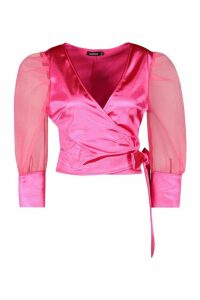 Womens Organza Puff Sleeve Wrap Top - Pink - 12, Pink