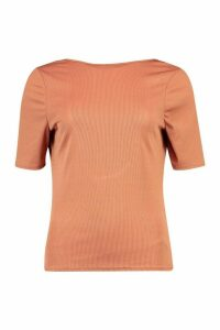 Womens Rib Scoop Back T-Shirt - brown - 16, Brown