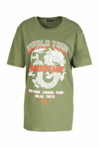 Womens Dragon Print Oversized T-Shirt - green - L, Green