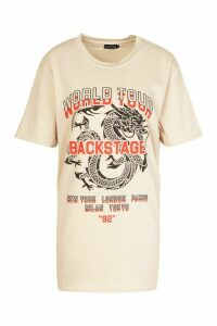 Womens Dragon Print Oversized T-Shirt - beige - M, Beige