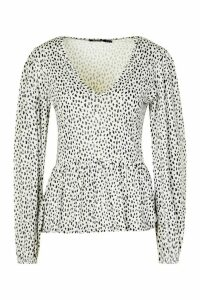 Womens Smudge Print Neck Peplum Top - White - 10, White