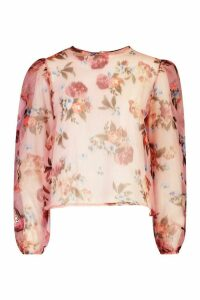 Womens Blurred Floral Organza Mesh Puff Sleeve Top - Pink - 12, Pink