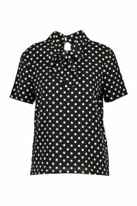 Womens Polka Dot Pussybow Short Sleeve Blouse - black - 8, Black