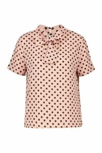Womens Polka Dot Pussybow Short Sleeve Blouse - pink - 14, Pink