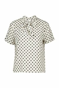 Womens Polka Dot Pussybow Short Sleeve Blouse - white - 14, White