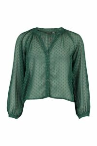 Womens Dobby Mesh Button Down Shirt - green - 14, Green