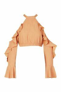 Womens Cold Shoulder Ruffle Flare Sleeve Top - beige - 16, Beige