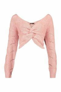 Womens Pointelle Twist Front Jumper - pink - M, Pink