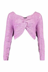 Womens Pointelle Twist Front Jumper - purple - M, Purple