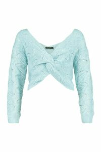 Womens Pointelle Twist Front Jumper - Blue - M, Blue