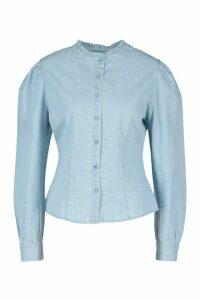 Womens Ruffle Collar Popper Denim Shirt - Blue - 14, Blue