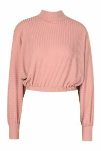 Womens Roll/Polo Neck Batwing Top - Pink - 14, Pink