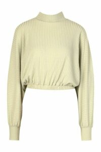 Womens roll/polo neck Batwing Top - green - 14, Green