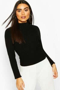 Womens Rib Knit roll/polo neck Top - black - M, Black