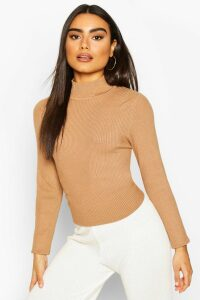 Womens Rib Knit Roll/Polo Neck Top - Beige - M, Beige