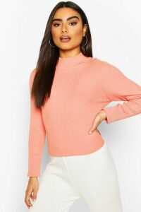 Womens Rib Knit roll/polo neck Top - pink - M, Pink