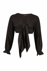 Womens Tie Front Beach Shirt - black - M, Black