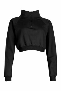 Womens Zip Through Loopback Jumper - Black - 16, Black