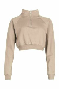Womens Zip Through Loopback jumper - cream - 16, Cream