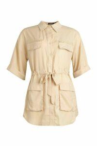 Womens Ruched Waist Woven Shirt - beige - 16, Beige