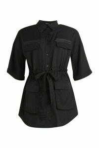 Womens Ruched Waist Woven Shirt - black - 16, Black